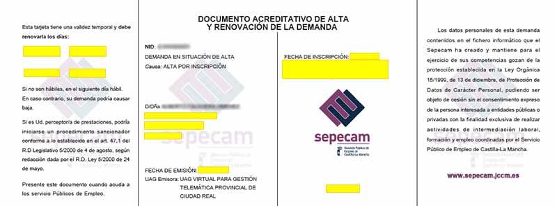Documento de Alta y Renovación de la Demanda de Empleo (DARDE)