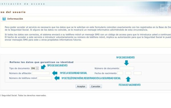 Formulario para pedir el Informe laboral por sms