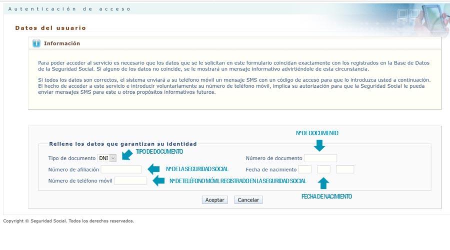 Formulario Informe laboral por sms