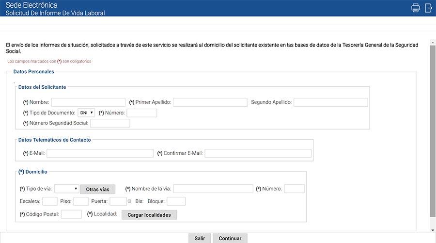 Formulario de solicitud de Vida Laboral en la Seguridad Social