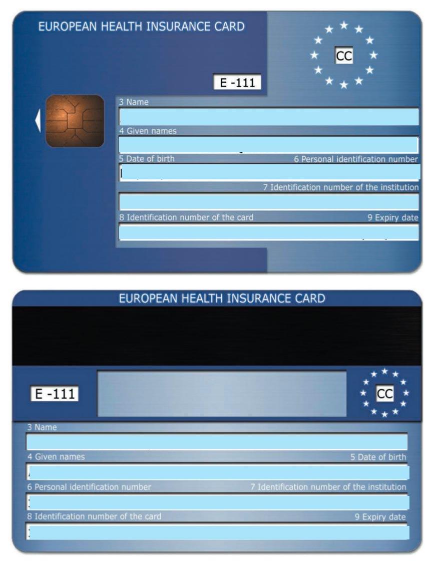 Modelo de tarjeta sanitaria europea